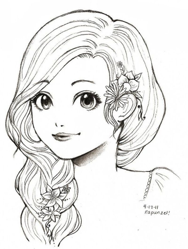 Beaux dessins de divers artistes for Coloring pages of girls faces